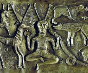 Darstellung eines Schamanen auf dem Kessel von Gundestrup