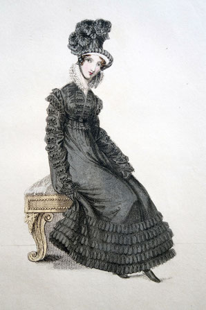 Walking Dress for Mourning, La Belle Assemblee, March 1st 1820. picture taken by Nina Möller - Regency / Empire fashion