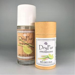 Drypur feines Deodorant Logo Schiefer Palmen