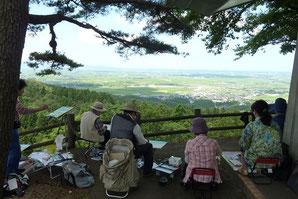酒田市松山にある眺海の森でスケッチ