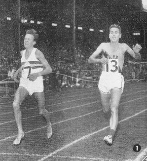 Bruce Tulloh (7) holds off Laszlo Tabori to win the 1960 Edinburgh Highland Games 2 miles