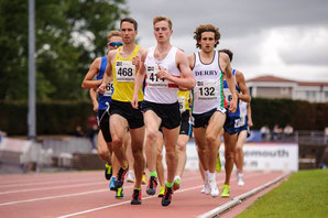 The Scottish 1500m championships with Alastair Hay (468), Michael Ferguson (414) and winner Matthew White (132). (Pic: Bobby Gavin)
