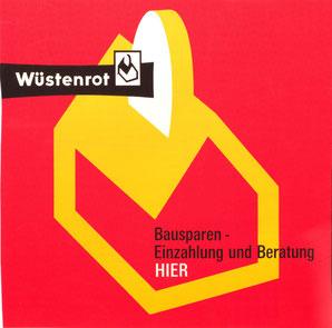 Poster Bausparkassenwerbung von Wüstenrot. 1960er Jahre.
