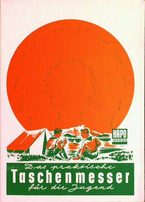 HAPO Taschenmesser (HAPO Werke) Werbung Ende der 1950er Jahre. Kahlenberg-Graphik Wien.