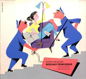 Möbelhaus Preimesberger. Möbelpacker tragen Frau die Treppe hoch. Poster 1960er Jahre.