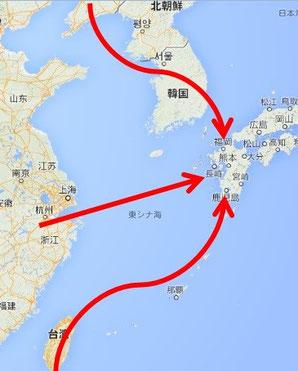 寒冷地帯の中国北部や朝鮮半島では稲作があまり一般的ではなく、長江流域からダイレクトにというルートの方が多かったかもしれません