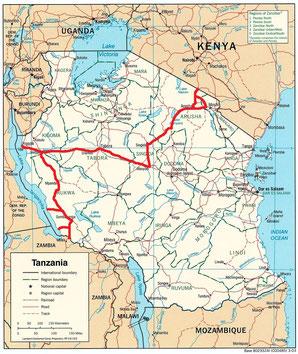 Gefahrene Route in Tansania