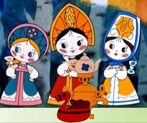 На картинке три Наталии в сказочном лесу с самоваром с плюшками почуют гостей