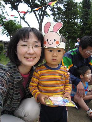運動会に参加した次男2歳くらい。可愛い♪