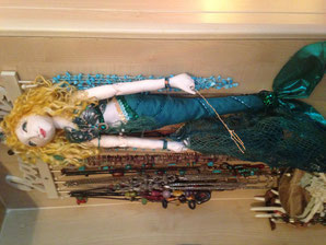 handmade textile mermaid decorated with sequins