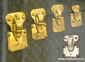 4 tailles de serrures Louis Vuitton à gorges pour malle et valise