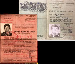 Ci-dessus la licence de patron pilote d'Alain Huguet et le permis bateau de son épouse.