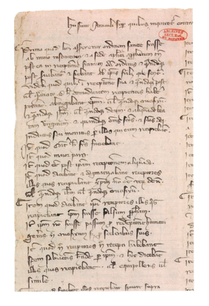 Papier, latin. 32 x 24 cm. Archives nationales, J 413, n° 24 ter. Temple de Paris