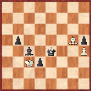 Hein - Margenberg: 71.Le7?? stellte hier die Partie endgültig ein, mit 71.Kd2! hätte Weiß hingegen noch ein Remis erzielen können da Schwarz die Blockade auf den schwarzen Feldern nicht brechen kann