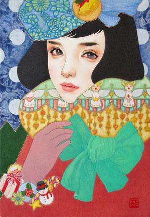 『冬の鳥』 日本画 P3 ご予約済