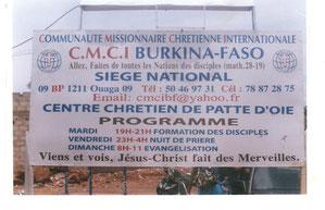 Le siège national Mission CMCI BURKINA et Eglise Locale CMCI Ouagadougou
