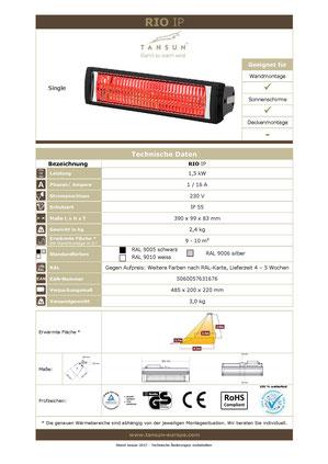 Datenblatt Infrarotheizung RIO IP 1,5 kW Wärmestrahler