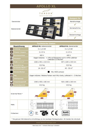 Datenblatt Infrarotheizung APOLLO 9 kW