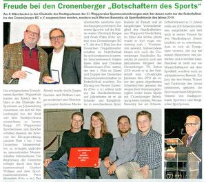 Bericht im Cronenberger Anzeiger vom 14.03.2017 über die am 08.03.2017 in der Glashalle der Stadtsparkasse stattgefundenen 21. Wuppertaler Sportlerehrungen