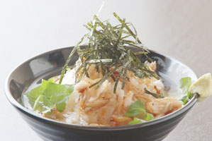 Atka Mackerel Rice with Green Tea 550 yen
