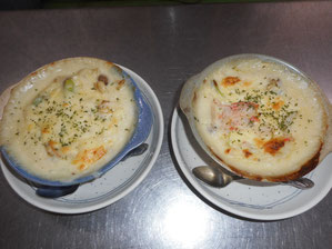 Scallop Gratin 1100 yen / Snow Crab Gratin 1100 yen