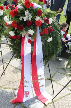 Landtag Brandenburg. Die Präsidentin. Kranz Sowjetisches Ehrenmal 9.Mai 2015. Foto: Helga Karl