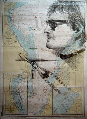 Bleistift auf Seekarte 70x50 cm