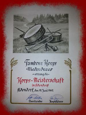 Spielmannszug Echo Niederdrees in Adendorf 19.06.1960 Meisterschaft