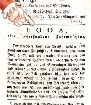 Freiherr von Drais und seine neuerfundene Fahrmaschine