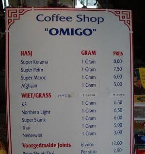 menu coffeeshop Omigo Arnhem
