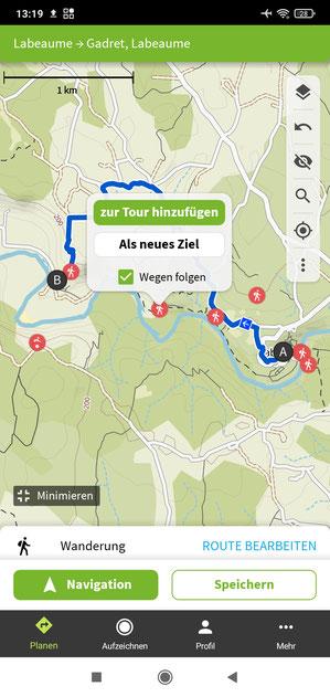Routenplanung Wander App Komoot