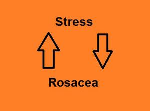 Stress, Rosacea durch Pfeile im Kreis verbunden