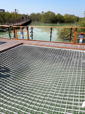 Schwimmende Plattform mit Netzboden