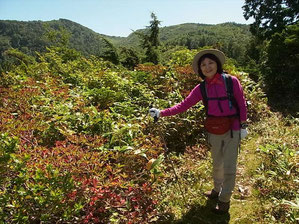 右奥の平らな山が小桜平 M田さんです
