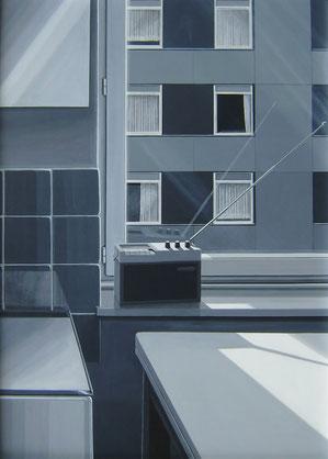 Neue Heimat, 1974, Acryl auf Holzplatte, 125/85 cm