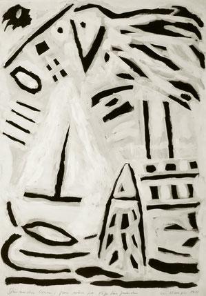 Gern wäre ich Kapitän geworden.    Acryl schwarz + weiß, 1988