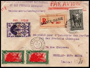 Enveloppe ancienne pour Sainte-Marie Madagascar