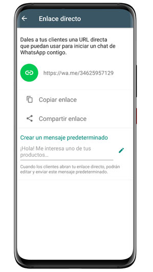 WhatsApp Business: Enlace directo