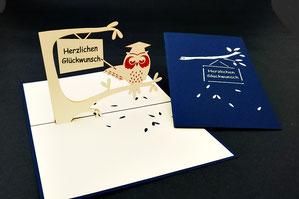"""Eule Herzlichen Glückwunsch"" Pop Up Karte - LIN ArtDesign -"