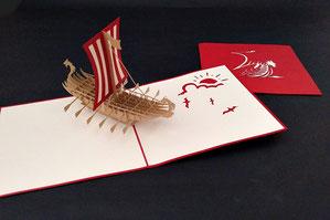 """Wikinger Schiff"" Pop Up Karte - LIN ArtDesign -"
