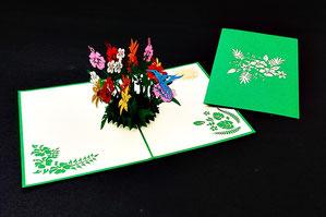 """""""Kolibri auf Blume"""" Pop Up Karte - LIN ArtDesign -"""