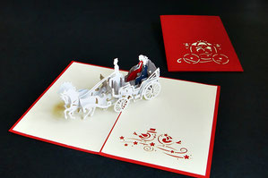 """""""Hochzeitskutsche"""" Pop Up Karte - LIN ArtDesign -"""
