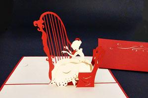 """Die Harfenspielerin"" Pop Up Karte - LIN ArtDesign -"