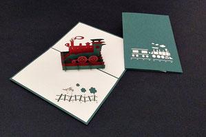 """Nostalgische Dampflok"" Pop Up Karte - LIN ArtDesign -"