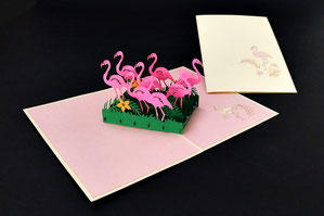 """Flamingos"" Pop Up Karte - LIN ArtDesign -"