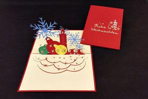 """""""Weihnachtskugeln und -sterne""""  Pop Up Karte  - LIN ArtDesign -"""