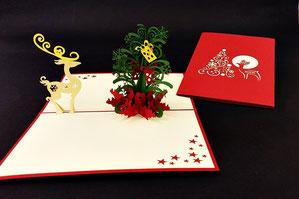 """""""Rentier vor Weihnachtsbaum""""  Pop Up Karte  - LIN ArtDesign -"""