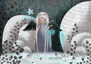 Illustration d'une fille à la lanterne dans son paysage lunaire floral par l'illustratrice Fanny Offre pour l'interview sur le site de Cloé Perrotin