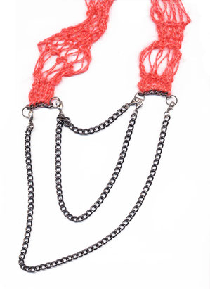 double chain, necklace handknitted red yarn stitched to dark gunmetal heavy chain, jewellery, adornment, schmuck