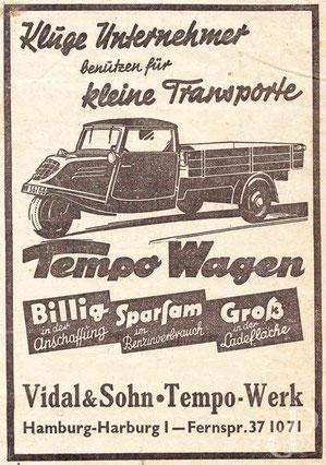 Werbeanzeige von Vidal & Sohn Tempo-Werk (Der gewerbliche Kraftverkehr, 1941) / © Sammlung PRISARD
